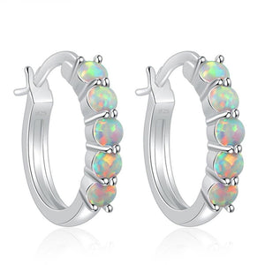 Small Round Pink & Blue & White Fire Opal Hoop EarringsEarrings
