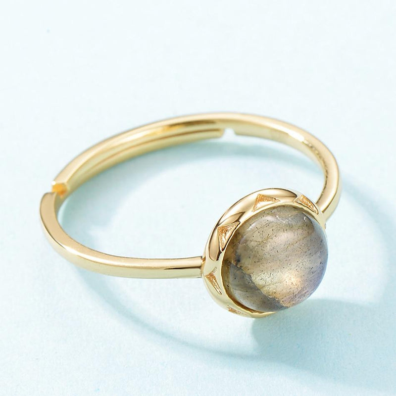 Natural Labradorite Adjustable Gold RingRing