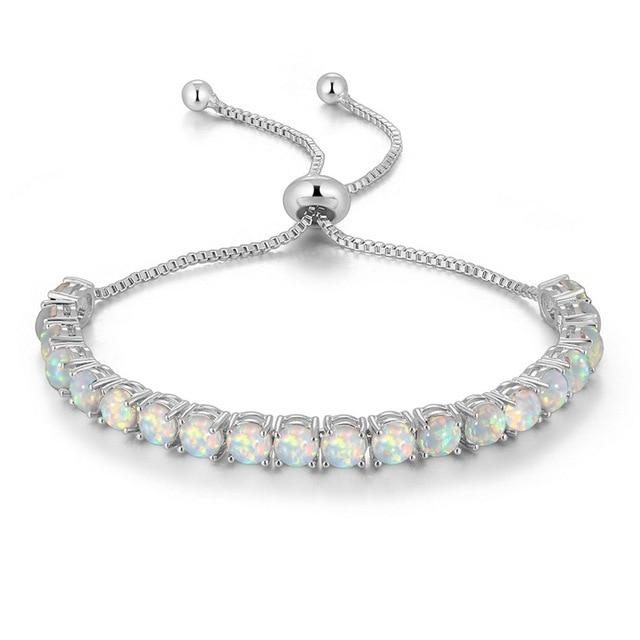 Fire Opal Silver Plated Tennis Bracelet for Women - ResizeableBraceletWhite Opal - Silver