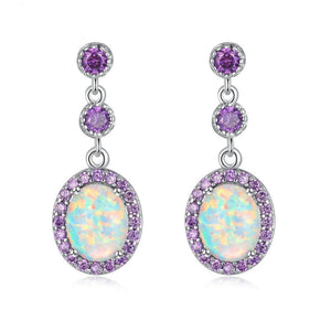 White Fire Opal Amethyst Teardrop EarringEarrings
