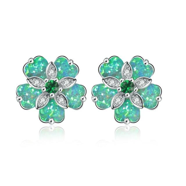Cherry Blossom Fire Opal Stone Stud EarringsEarringsGreen Fire Opal/ Emerald