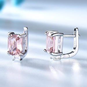 Pink Morganite Dazzling Clip Earrings -  925 Sterling Silver