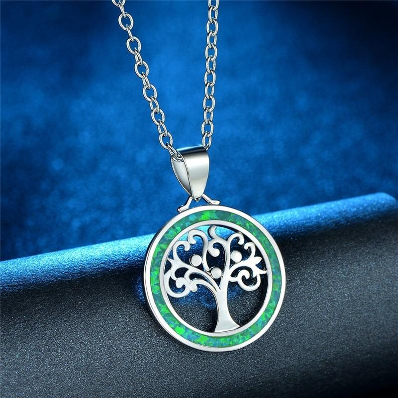 Tree of Life Fire Opal Round Necklaceneckalce
