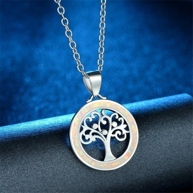 Tree of Life Fire Opal Round NecklaceneckalceWhite
