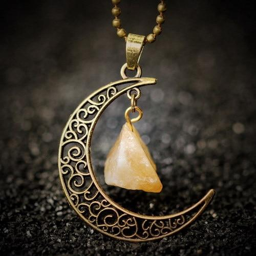 Natural Healing Crystal Moon Pendant NecklaceNecklaceInner Peace