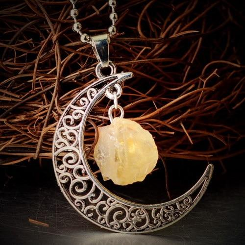 Natural Healing Crystal Moon Pendant NecklaceNecklaceStone of Patience