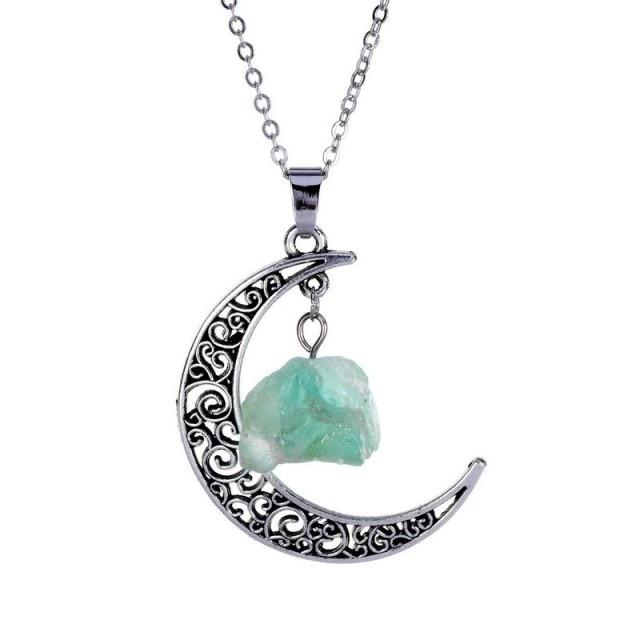 Natural Healing Crystal Moon Pendant NecklaceNecklaceFor Infinity