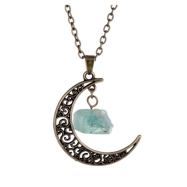 Natural Healing Crystal Moon Pendant NecklaceNecklaceFor Perseverance