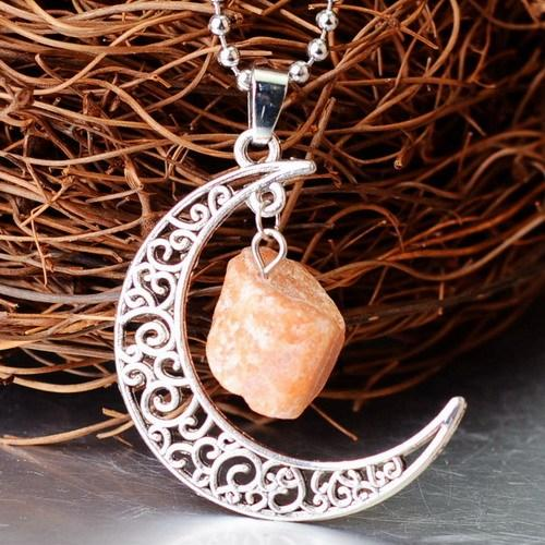 Natural Healing Crystal Moon Pendant NecklaceNecklaceFor Grief