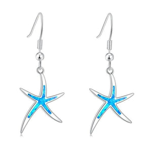 Blue White Fire Opal Lovely Starfish Dangle EarringsEarringsBlue Fire Opal
