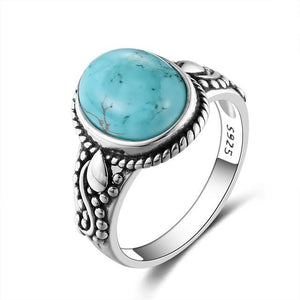 Natural Turquoise Quaint Ring - 925 Sterling Silver