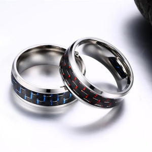 Men's Pure Titanium Ring - With Black Red & Black Blue Carbon FiberRing