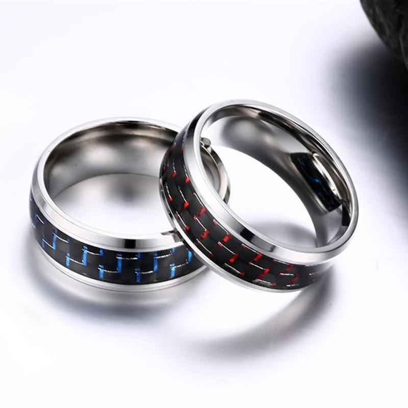Men's Pure Titanium Ring - With Black Red & Black Blue Carbon Fiber - atperry's healing crystals