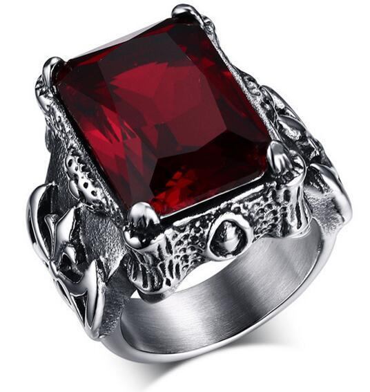Retro Ruby Ring For Men   matans store.myshopify.com