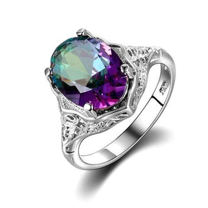 Glamorous Rainbow Mystic Topaz Ring - 925 Sterling Silver RingRing6Multicolor