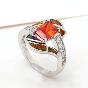 Orange Fire Opal Diamonds Ring - 925 Sterling SilverRing7