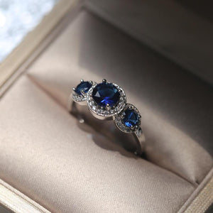 Magnificent Triad Sapphire Ring - 925 Sterling Silver
