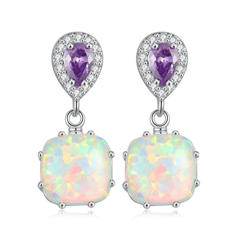 White Fire Opal Square Stone Drop EarringsEarrings