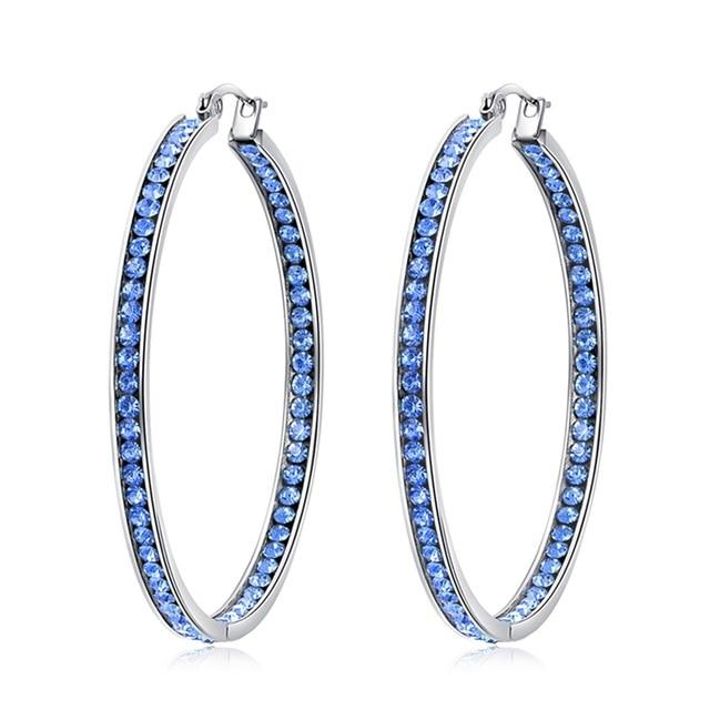 BOHO Gold/Blue & White Crystal Hoop EarringsEarringsFH8790