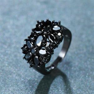 Black Onyx Flower Promise Ring