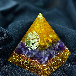Orgonite Pyramid Amethyst Citrine Crystal