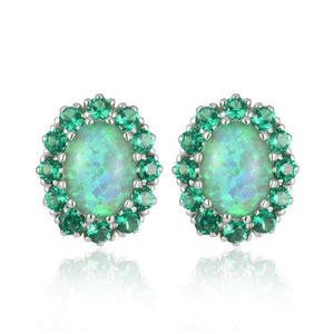 Green Fire Opal Emerald Stud EarringsEarrings