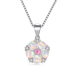White Fire Opal Rose Quartz Flower Necklace