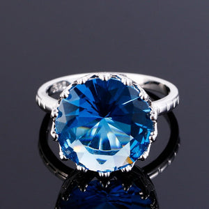 Blue Sapphire Crown Ring - 925 Sterling Sterling Silver