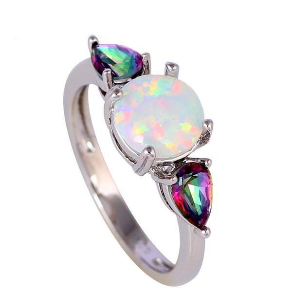 White Fire Opal Mystic Topaz Ring - atperry's healing crystals