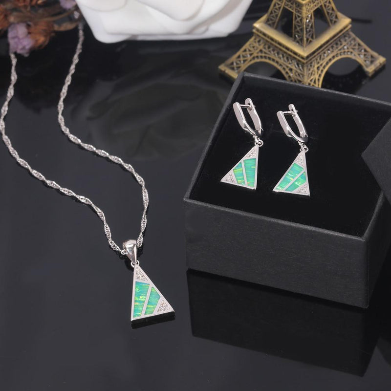 Green Fire Opal Triangular Earring and Necklace Set
