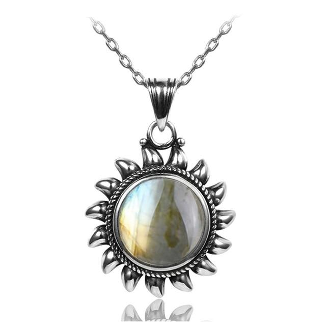 Natural Labradorite Sun Necklace - Sterling SilverNecklace