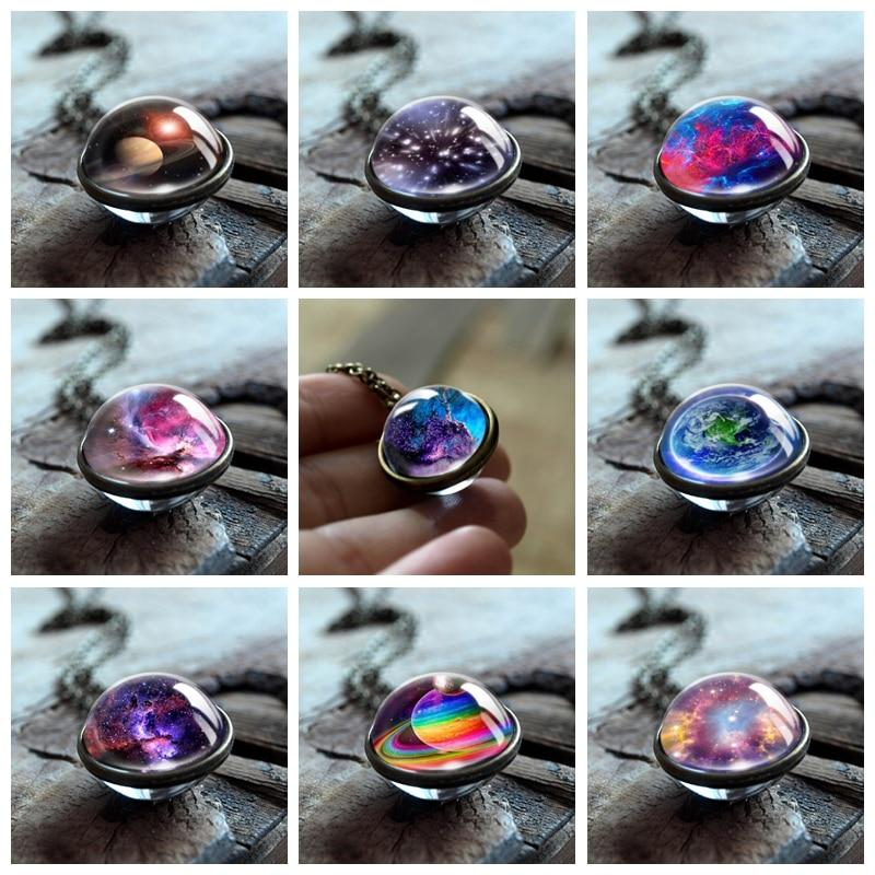 Handmade Nebula Galaxy Double Sided Statement NecklaceNecklace