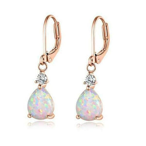 Boho Pink & White Fire Opal Dangle EarringsEarrings