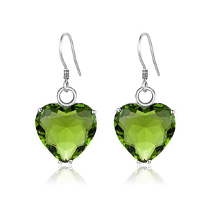 Natural Peridot Gemstone Heart EarringsEarrings