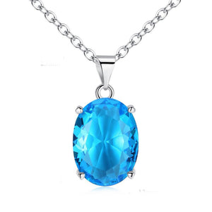 Aquamarine Oval Necklace - 925 Sterling SilverNecklace