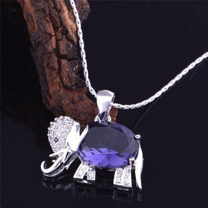 Crystal Elephant Pendant Necklace - atperry's healing crystals