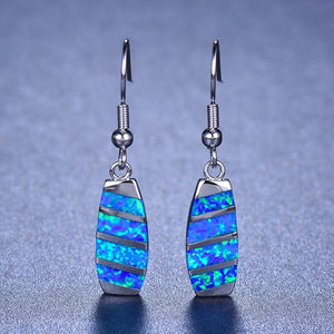 Blue White Fire Opal Bridge Drop EarringsEarrings