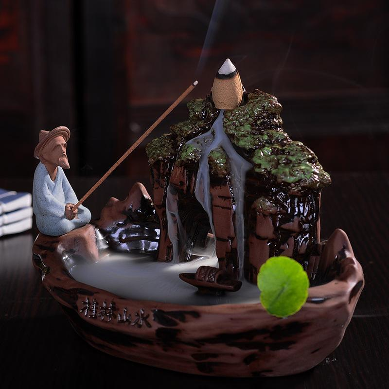 Chinese Guilin Moutain Ceramic Incense Burner - AtPerry's Healing Crystals™