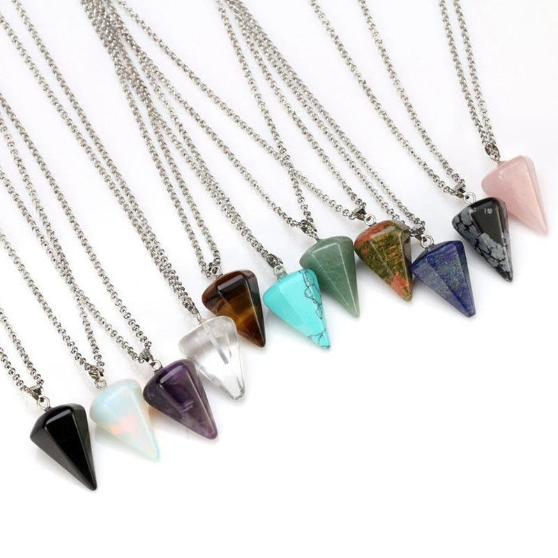 Crystal Quartz Healing Amulet Pendulum Necklace