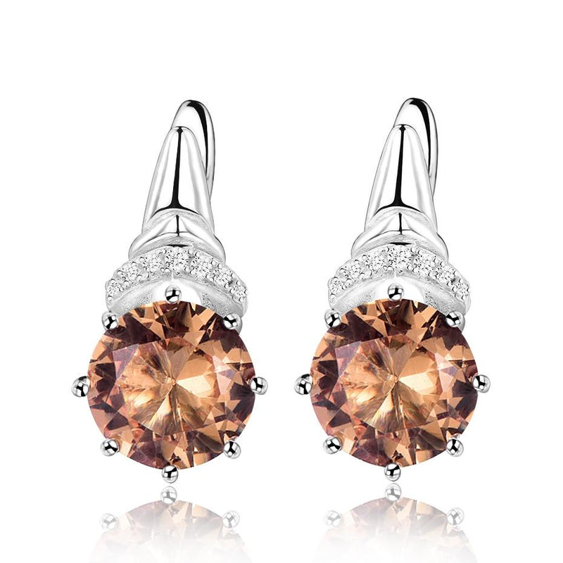 Charm Morganite Clip Earrings - 925 Sterling SilverEarrings