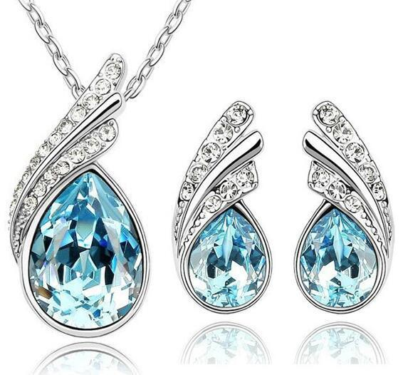 Austria Crystal Water Drop Leaves - A Pair of Earrings and a Necklace - Free ShippingEarringsOcean Blue