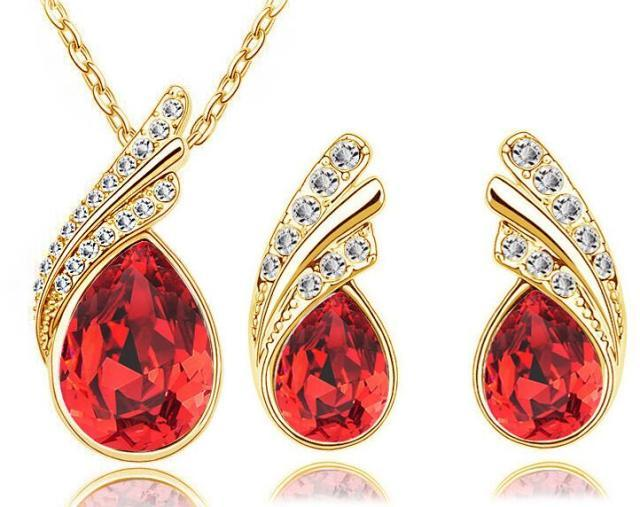 Austria Crystal Water Drop Leaves - A Pair of Earrings and a Necklace - Free ShippingEarringsGold Red