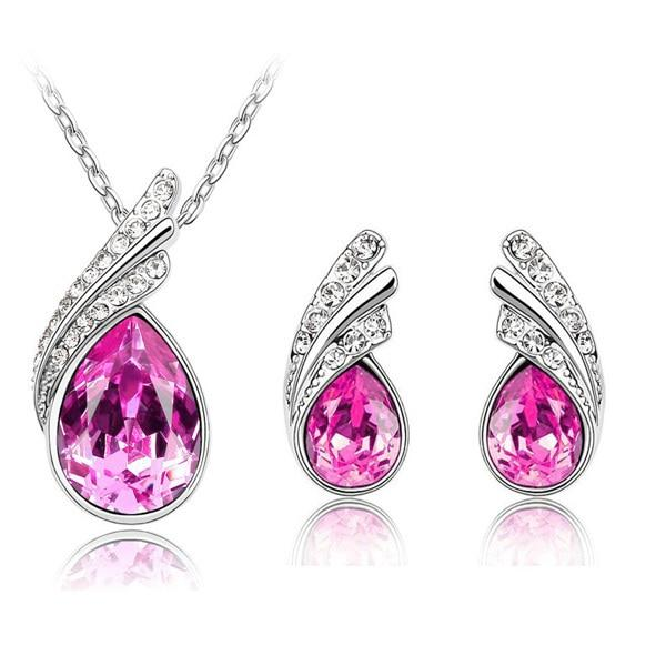 Austria Crystal Water Drop Leaves - A Pair of Earrings and a Necklace - Free ShippingEarringsRose