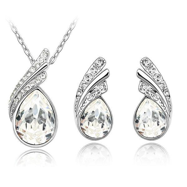 Austria Crystal Water Drop Leaves - A Pair of Earrings and a Necklace - Free ShippingEarringsSilver White