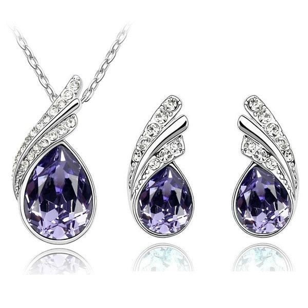 Austria Crystal Water Drop Leaves - A Pair of Earrings and a Necklace - Free ShippingEarringsPurple
