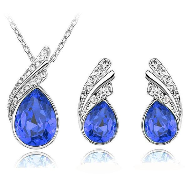 Austria Crystal Water Drop Leaves - A Pair of Earrings and a Necklace - Free ShippingEarringsDark Blue