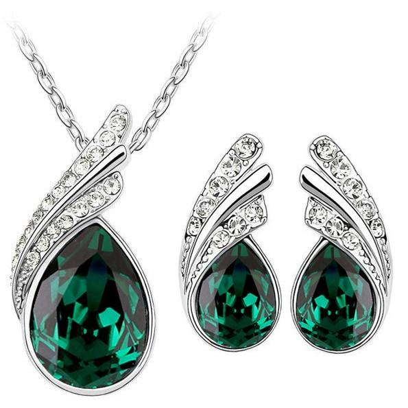 Austria Crystal Water Drop Leaves - A Pair of Earrings and a Necklace - Free ShippingEarringsGreen