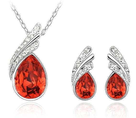 Austria Crystal Water Drop Leaves - A Pair of Earrings and a Necklace - Free ShippingEarringsSilver Red