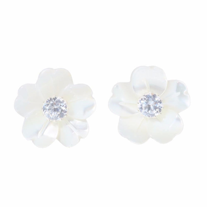 Flower Shell Cubic Zirconia Authentic 925 Sterling Silver EarringsEarrings