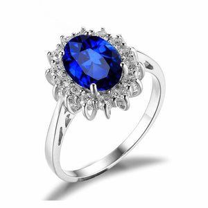 Blue Sapphire Flower Ring - 925 Sterling SilverRing10